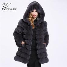 Элегантный искусственный Лисий Мех животных пальто для женщин зимние повседневное теплые роскошный искусственный мех мода 2018 г. пушистый пальт