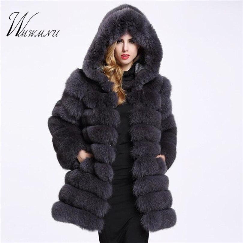 Elegante Faux Pele De Raposa Mulheres Casaco casuais Inverno Quente Falso casaco De Pele 2018 Moda de Luxo fluffy Casacos Jaqueta Com Capuz Feminino sobretudo