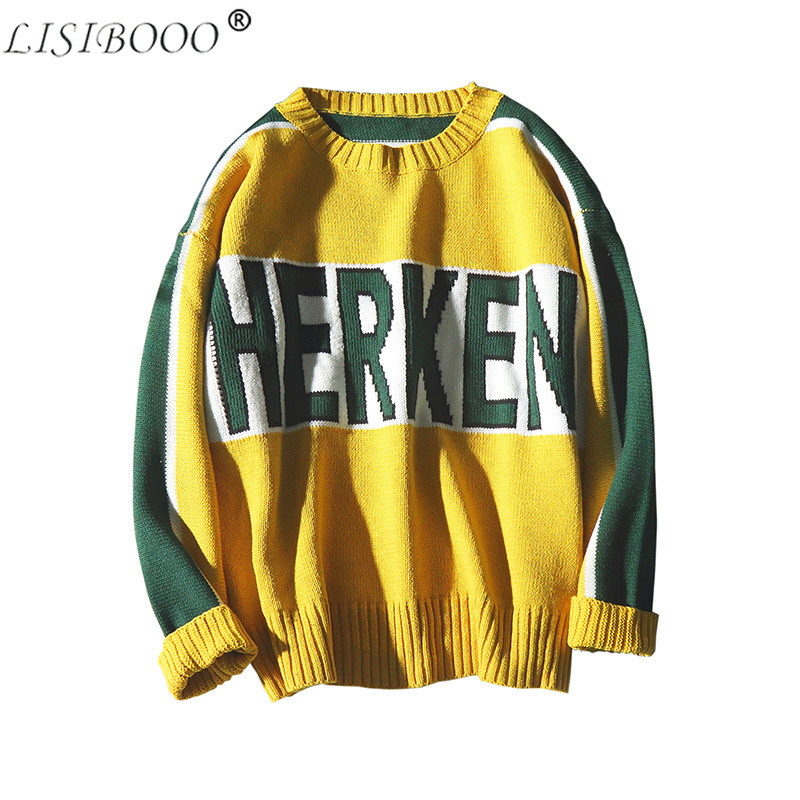 Autumn And Winter Long Sleeved Jacquard Mens Sweater O-neck Pullover Mens Sweater Letter Print Male Sweater Men Winter Sweater
