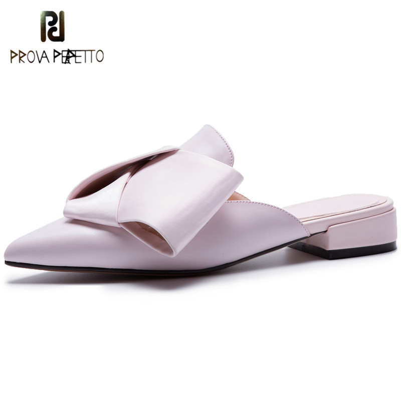 Prova Perfetto New Pointed Toe Chunky Heels Mules Sweet Pink Bowknot Summer Slippers Women Casual Shoes Woman Big Size Flat Shoe summer new pointed thick chunky high heels closed toe pumps with buckle ankle wraps sweet sandals women pink black gray 34 40