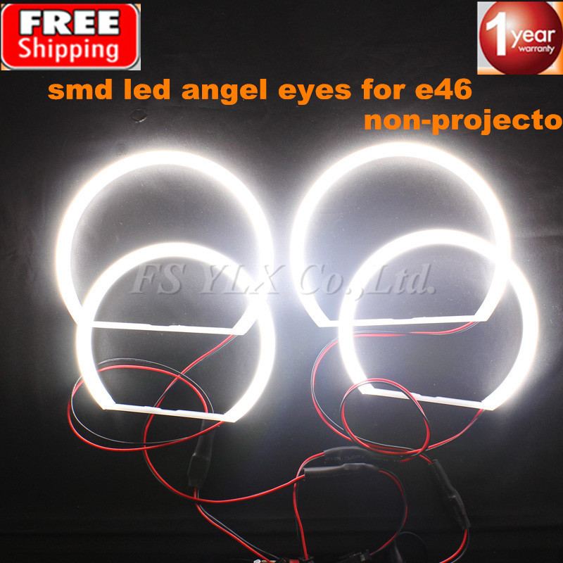цена на FSYLX 2x131mm+2x146mm SMD LED Angel Eyes For BMW E46 Non-Projector SMD LED Angel Eyes Rings WHITE 3 series coupe/cabrio sedan