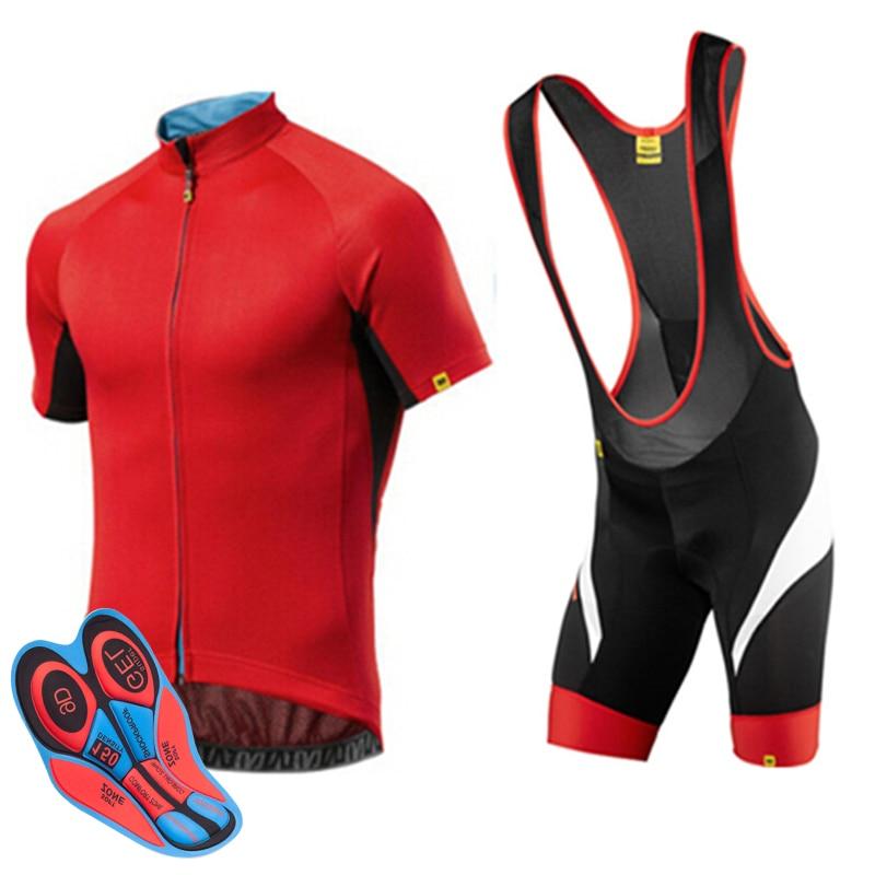 Spor ve Eğlence'ten Bisiklet Takımları'de 2018 kırmızı mavic Pro Bisiklet Giyim MTB Bisiklet Giyim bisiklet setleri Bisiklet üniforma Döngüsü gömlek Yaz bisiklet jersey seti 9D jel
