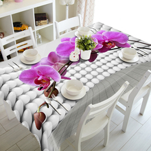 Senisaihon 3D Tablecloth Beautiful Purple Flowers Pattern Waterproof cloth Thicken  Rectangular Wedding table cloth Home Textile