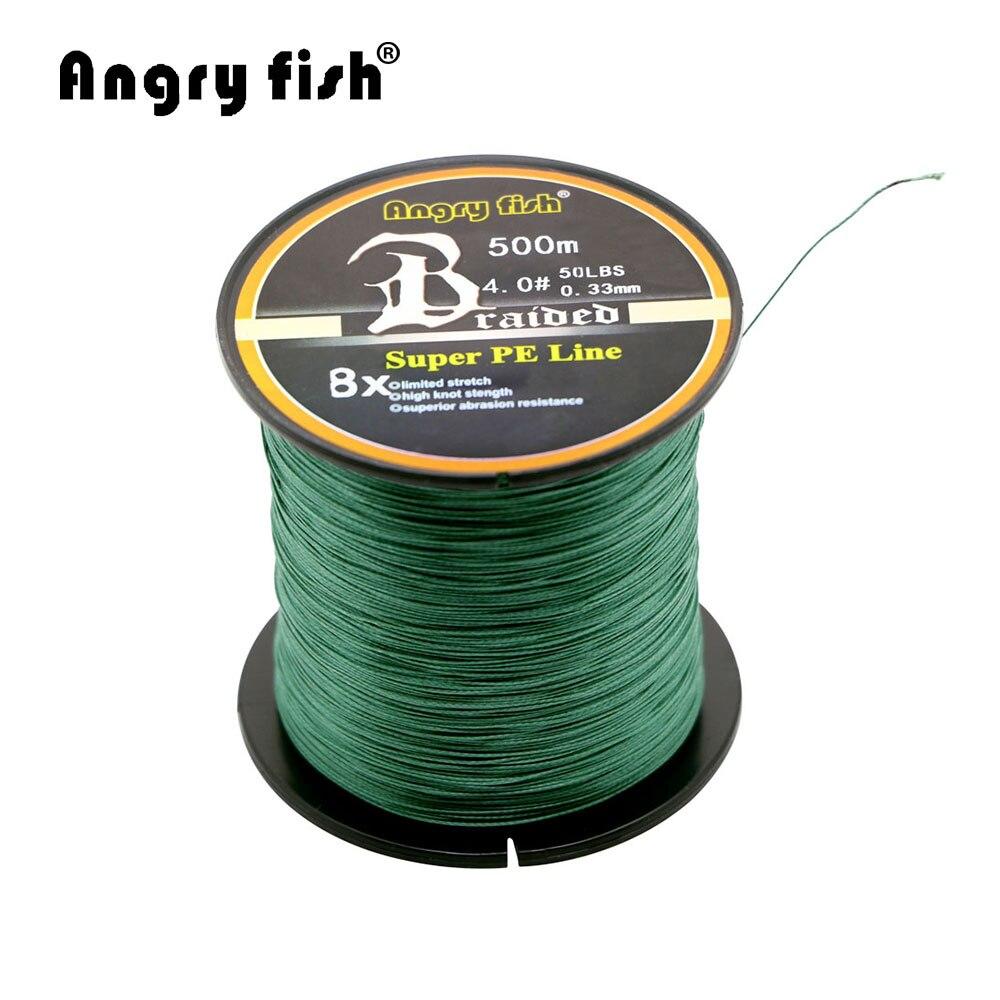 Angryfish All'ingrosso 500 Metri 8X Intrecciato Linea di Pesca 11 Colori Super Strong PE Linea