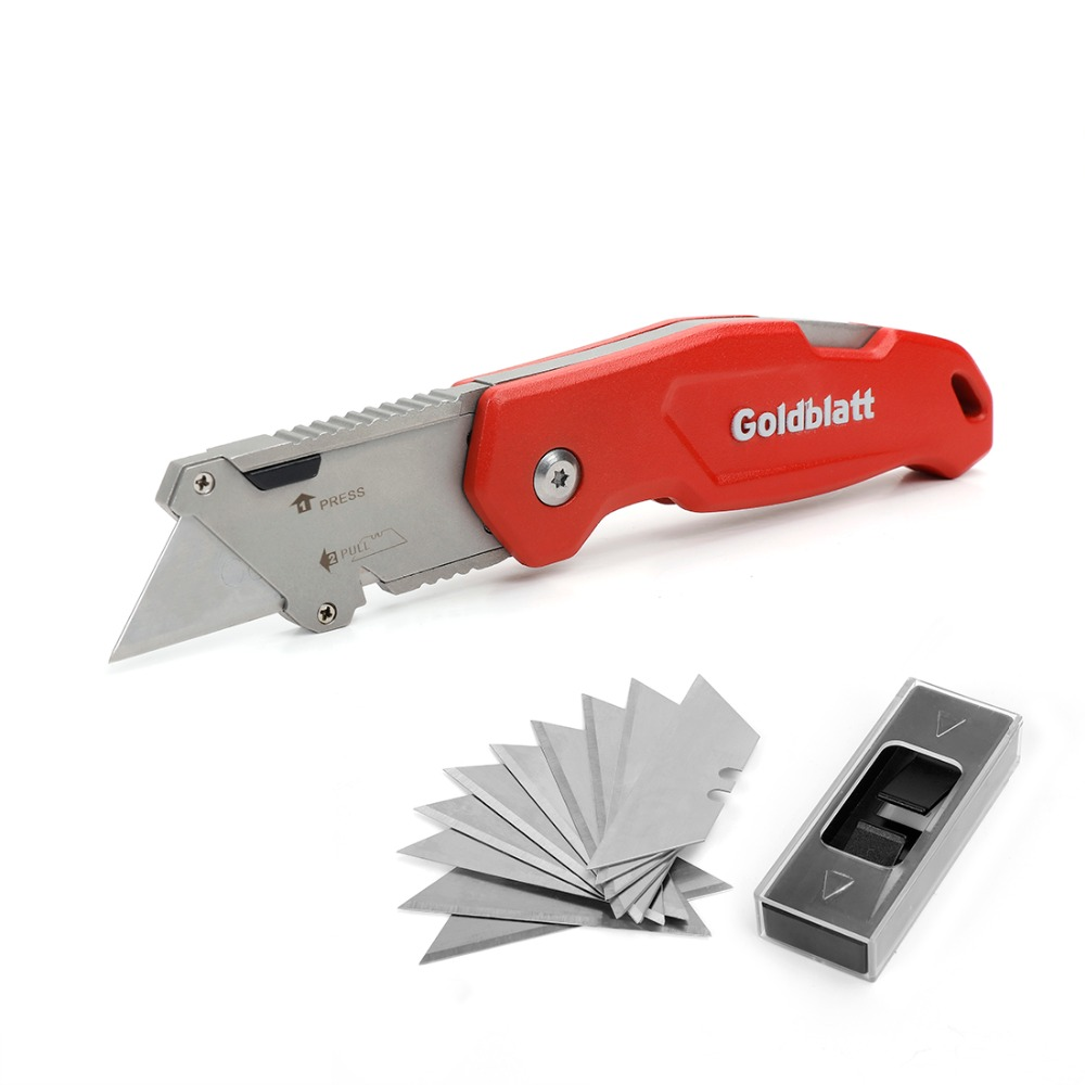 Goldblatt Folding Utility Knife Aluminum Alloy Handle Knife Quick Change Blade Mechanism Pipe Cutter with 10PC Extra Blades цена