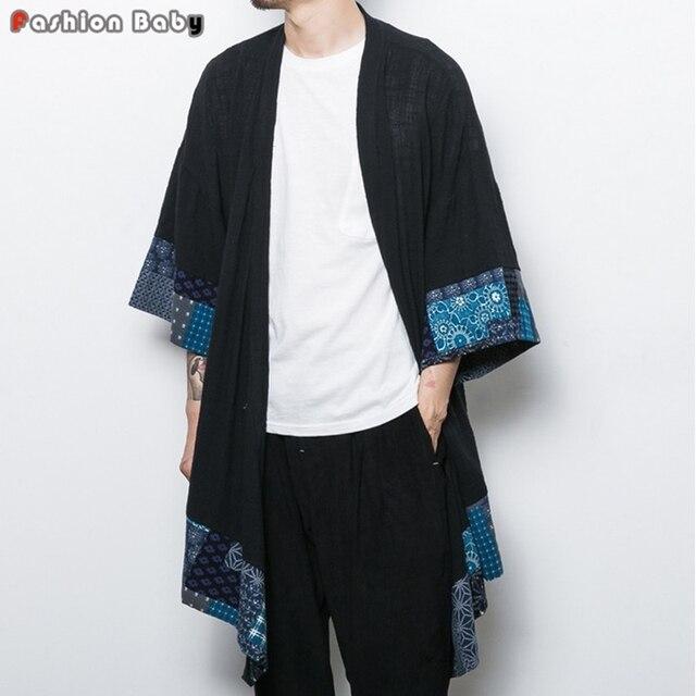 Китайский Стиль Цветок Хлопка Белье Траншеи Плащ мужская Мода Длинный Кардиган Пальто Свободные Геометрия Мыс 2016 Осень Новый