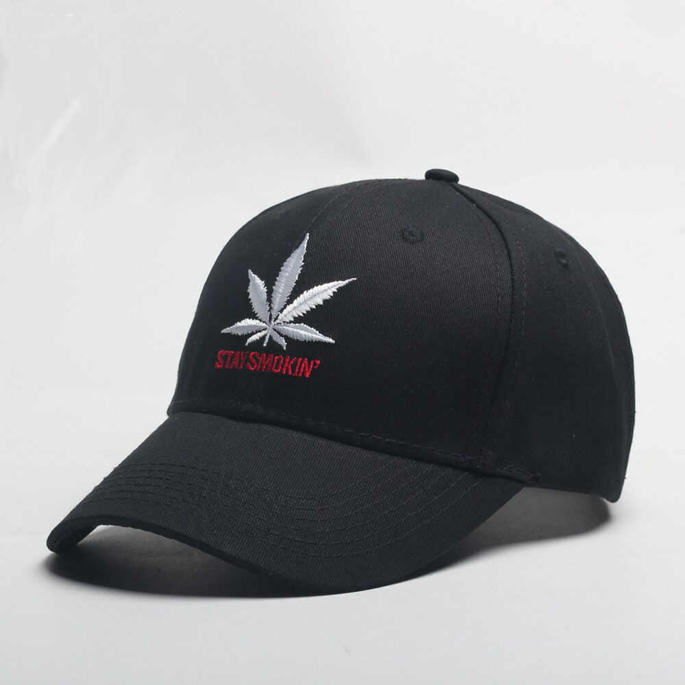 f2f68ec26c3 back Baseball Cap Men Weed Leaf Embroidery Skater Hat Adjustable Summer Sun  Hat 2018 Brim Cap