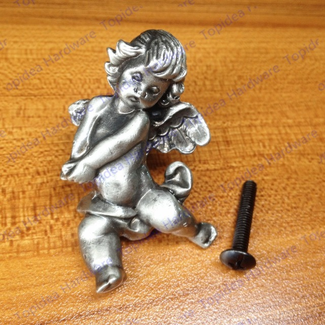 New classical European contracted style simple cupboard door drawer knobs ancient silver furniture handle/bear pulls