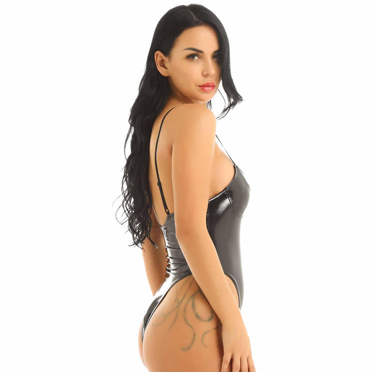 TiaoBug Vrouwen Zwart Lakleer Push Up Cup Hoge Cut Thong Hot Sexy Bodysuit Verstelbare Bandjes Badmode Monokini Badpak