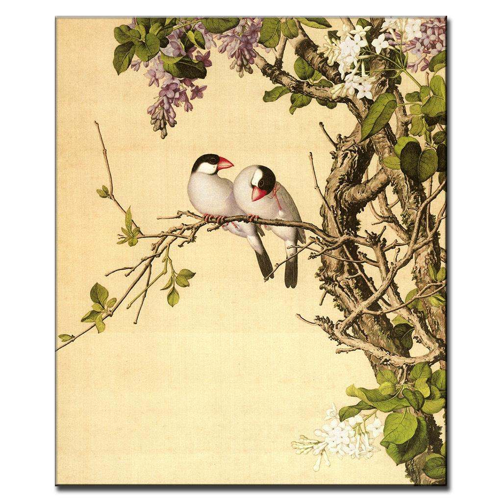 1 Pcs Chinese Traditional Lovebirds Painting Print On Canvas Retro ...