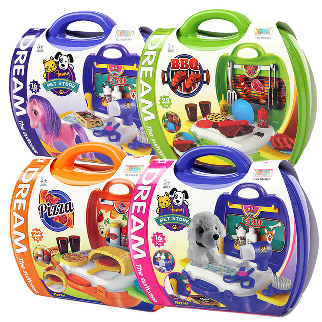 Children Portable Kitchen Cooking Toy Box Play Set For Kids And Parents Pet  Store/BBQ