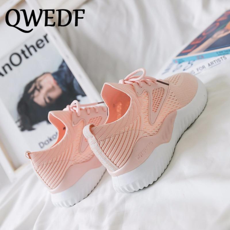 QWEDF femmes chaussures décontractées mode respirant marche maille à lacets chaussures plates baskets femmes 2019 chaussures vulcanisées SL-09