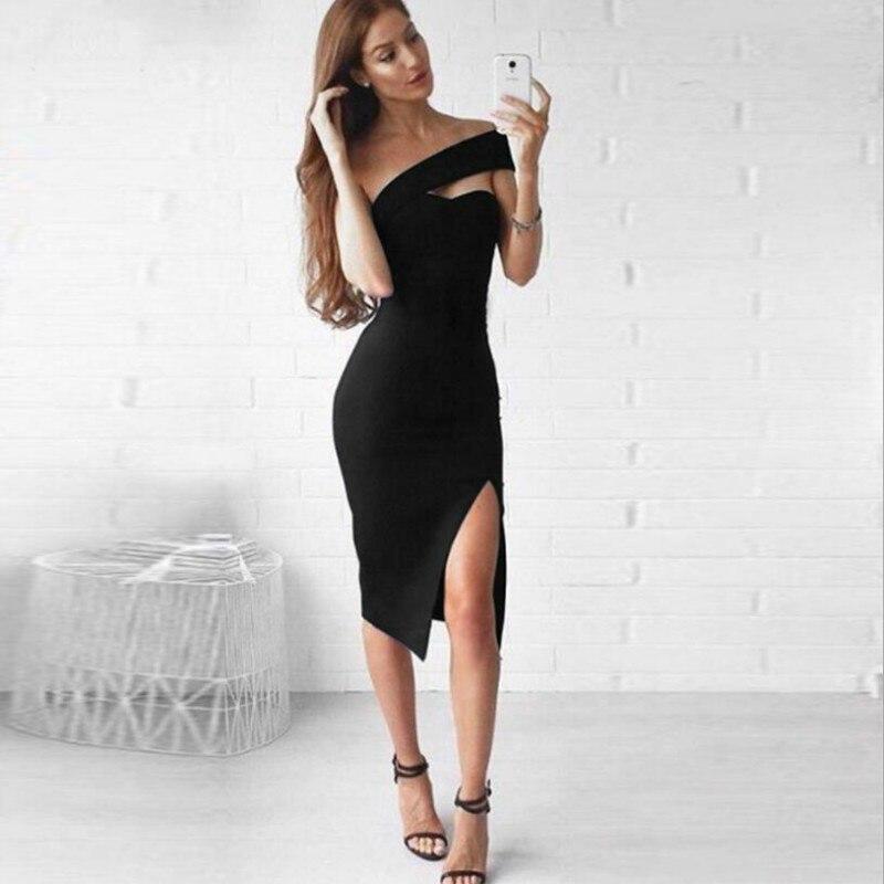 New Bodycon Bandage Dress Women Vestidos Verano 2019 Summer Sexy Elegant White Black One Shoulder Midi Celebrity Party Dresses