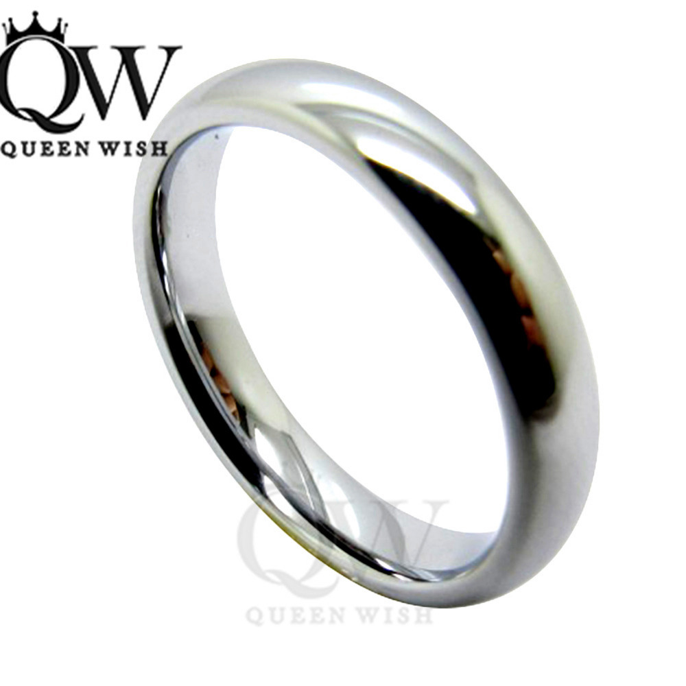 Queenwish Style Unique Engagement Rings 4mm White Tungsten Plainfort  Fit Wedding Band Couple Ring(