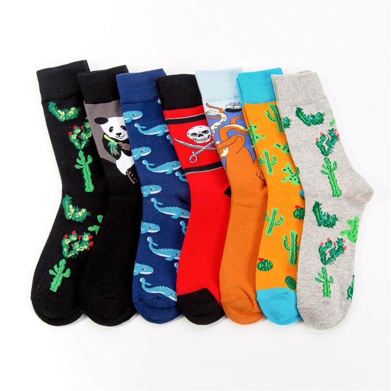 OKOUFEN Brand Fashion Mens Cotton Long   Socks   Men/Women Cactus Octopus Pattern Colorful Funny Happy   Socks   Wedding   Socks   Wholesale