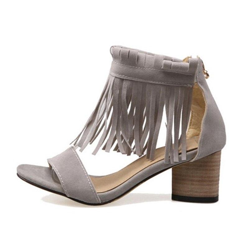 ФОТО DRFARGO 6 cm Square Heel  Ankle Fringe Cover Heel Elegant Women's Shoes Summer Ladies Sandals Plus big size 45