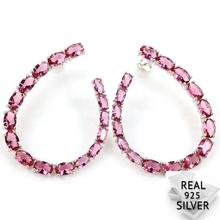 Real 7.2g 925 Solid Sterling Silver Classic Pink Tourmaline CZ Mothers Gift Earrings 43x33mm