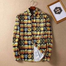 New Arrival  Spring Autumn  Men's Shirt Print Plus Size Loose Turn-down Collar Long-sleeve Flower Print Shirt Men Clothing