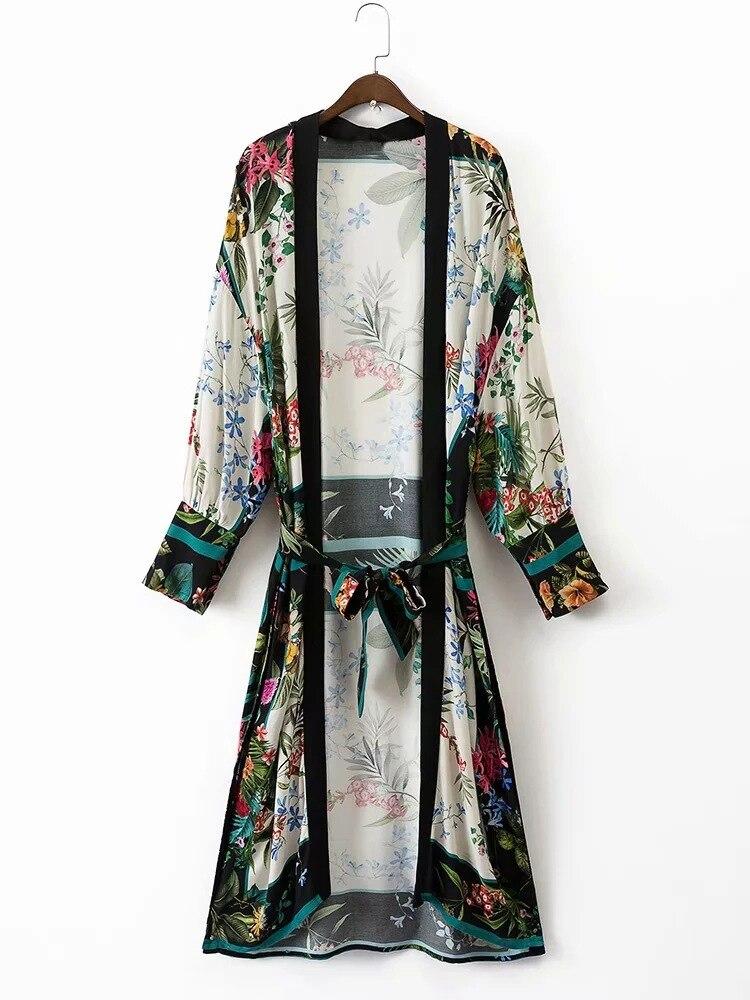 Wome Beach Kimono Cardigan Chic Chiffon Print Loose Belt Beach Party Wear Robe Female Japanese Kimonos Cardigan