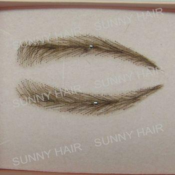 0113 hand made human hairr hand knot fake eyebrow dark brown #2 colour