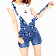 Short denim jumpsuit romper women overalls casual fashion jeans playsuit washed blue dungarees spring summer women