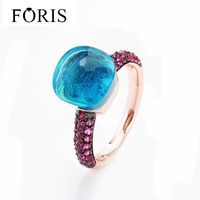 FORIS Classical Wedding Engagement Rings for Women Black Plated Pink Zircon Rose Gold Color Ring 14 Colors