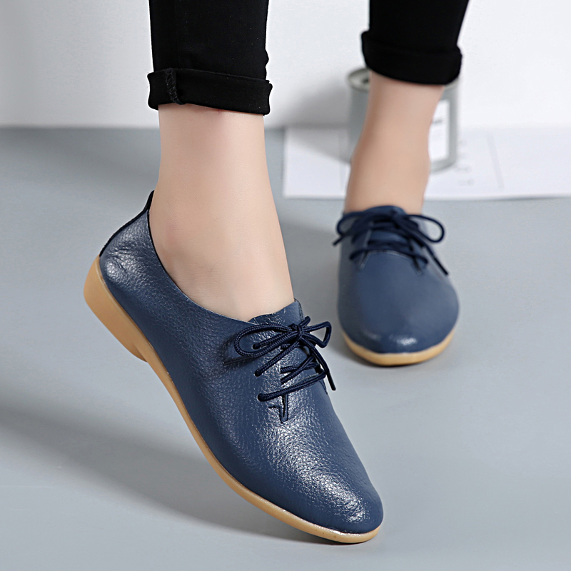 Women Flats Soft Genuine Leather Shoes Fashion Casual Loafers Point Toe Large Size Ladies Shoes Lace-Up Ballet Shoes New ABT700 цена и фото