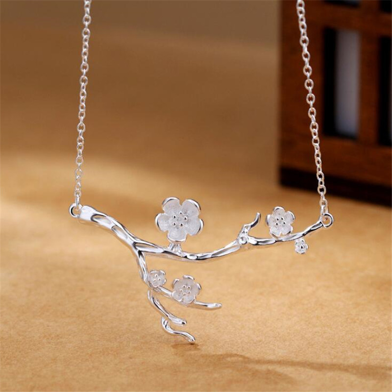 Original Design Natural Art Unice Genuine 925 Sterling Silver Plum Blossom Necklace Flow ...