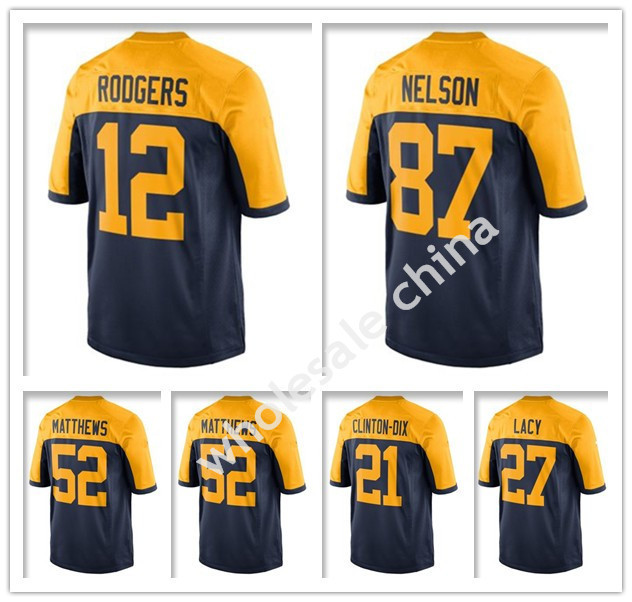 2015 American Football Jersey Green Bay Aaron Rodgers Cobb Clay Matthews  Jordy Nelson Eddie Lacy Navy ... 2144c6c33