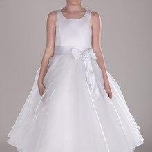 Новое поступление, платье трапециевидной формы с бантом из органзы и цветочным узором для девочек