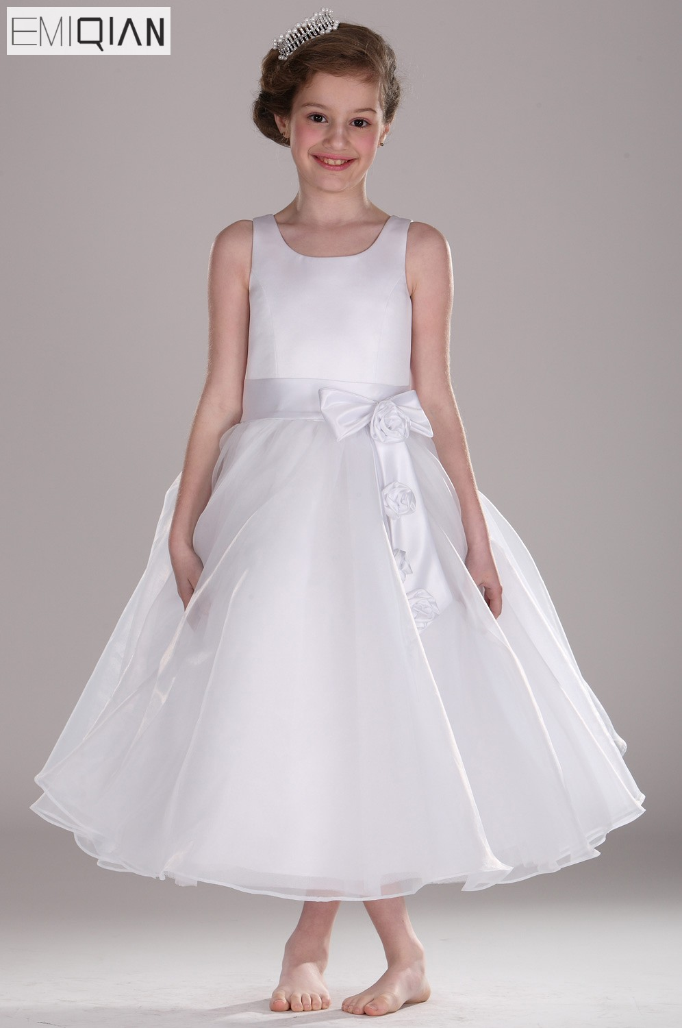 Free shipping New Arrival Tank A-Line Bow Organza   Flower     Girl     Dress