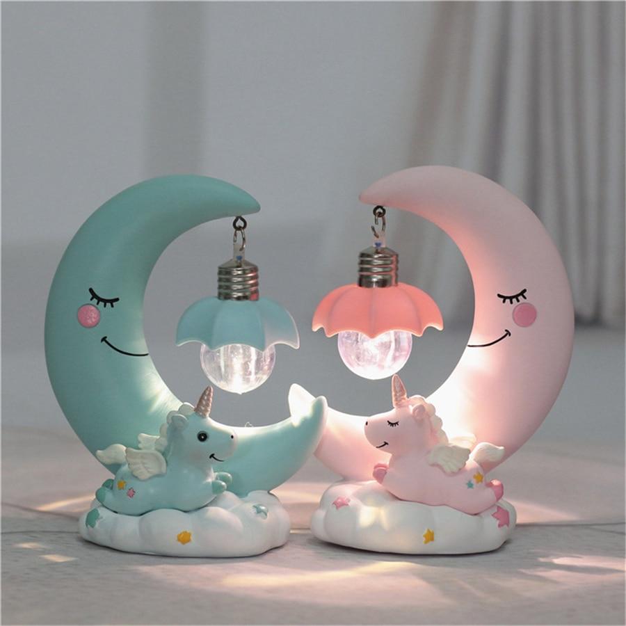 Led Night Light Resin Moon Unicorn Cartoon Baby Nursery