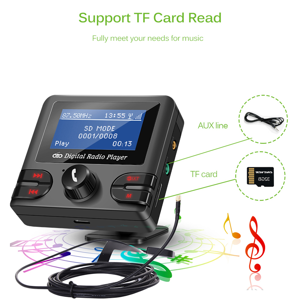 In-car DAB/DAB+ Radio Audio Player With FM Transmitter & Bluetooth Hands-Free DAB+ Tuner With Audio Output Include Antenna car dab radio receiver fm transmitter handsfree bluetooth radio in car dab radio tuner with antenna support tf card