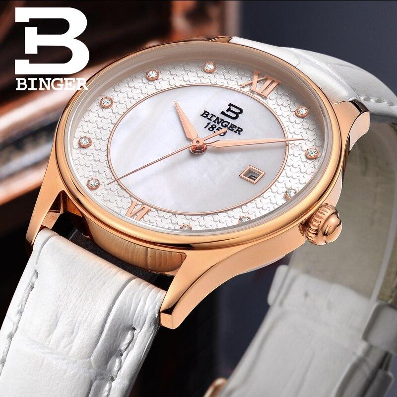 Fleurissement fleurs montre pour femmes élégant bracelet en cuir blanc montre-bracelet Quartz cristaux robe montre coque naturelle analogique Reloj - 5