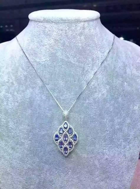 Natural blue topaz stone pendant S925 silver