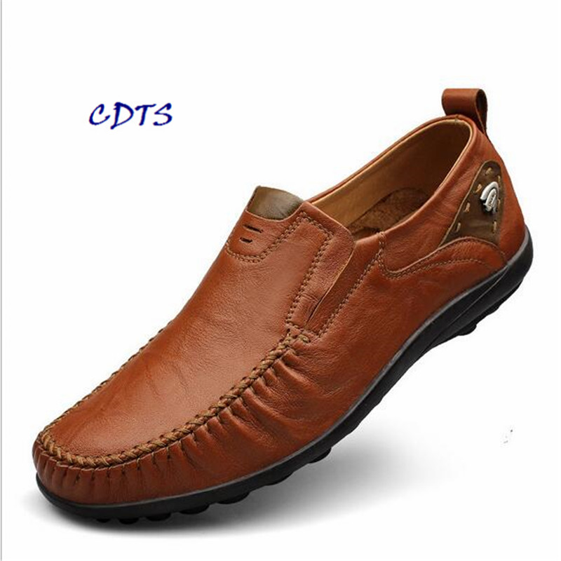 ФОТО CDTS 2016 Spring/Autumn Lace-Up Men's shoes Breathable Casual Flats genuine leather shoes plus size: 37-45 46
