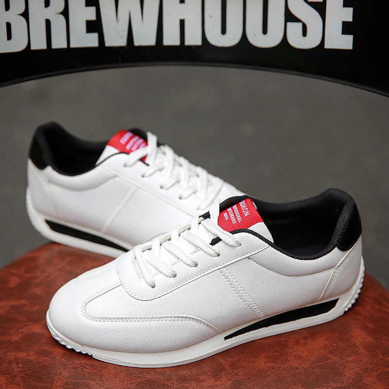 WOLF DIE Klassieke Witte Sneakers Mannen Casual Lederen Schoenen Man Lace-Up Flats Trainers Fashion Koreaanse Schoenen Femme Chaussure x-162
