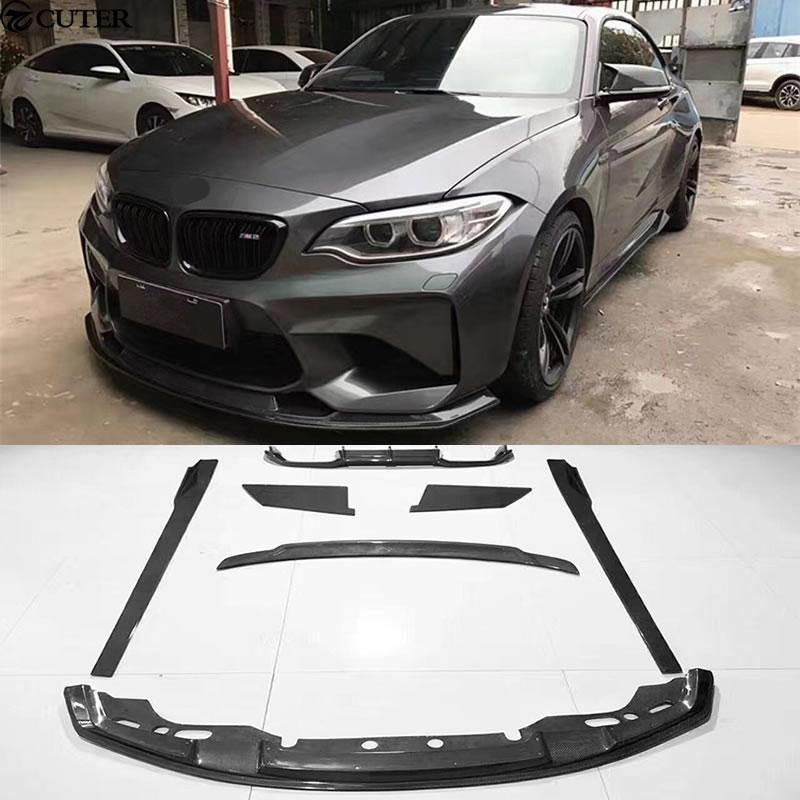 F87 M2 fibre de carbone kit de carrosserie avant lèvre arrière diffuseur jupes latérales aileron arrière pour BMW F87 M2 MTC style 2016