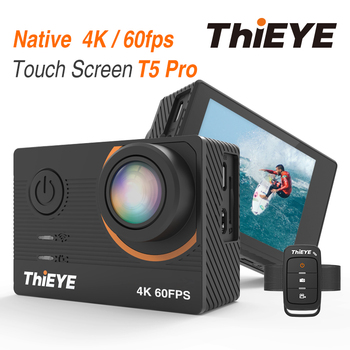 ThiEYE T5 Pro WiFi Action Camera Ultra HD 4K 60fps Touch Screen  Intuitive and Fast Control IP68 Waterproof Action Camera akaso v50x wifi action camera native 4k30fps sport camera with eis touch screen adjustable view angle 131 feet waterproof camera