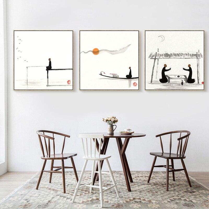 Chinesische Kultur Sonnenaufgang Angeln Schwarz Weiß Malerei ...