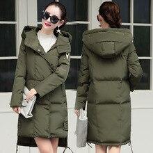2016 зима новая мода капюшоном чистый темперамент теплые женские длинные пальто куртки