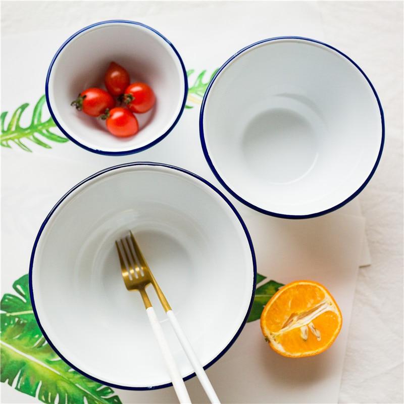 3 pieces set Enamel Bowl Salad Soup Fruit Noodle Rice Serving Japanese