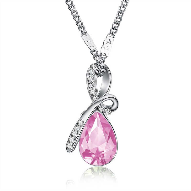 MISANANRYNE moda 10 renkler avusturyalı kristal su damlası kolye ve kolye zincir kolye moda takı kadınlar için