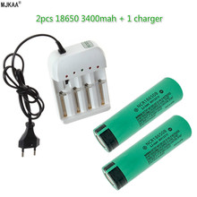 2pcs NCR 18650 3400mAh Rechargeable Battery + 1pcs 4 Slots Charger for Li-ion 3.7V Batteries MJKAA