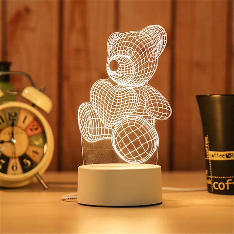 3d night light led lua torre urso medusa candeeiro de mesa do bebê quarto luz da noite criativo crianças aniversário dia dos namorados presente