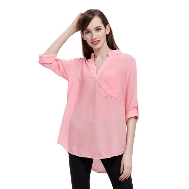 486eac920cceac EFINNY Womens Tops Blouses Sexy V Neck Solid Shirts Summer Beach Chiffon Blouse  Plus size