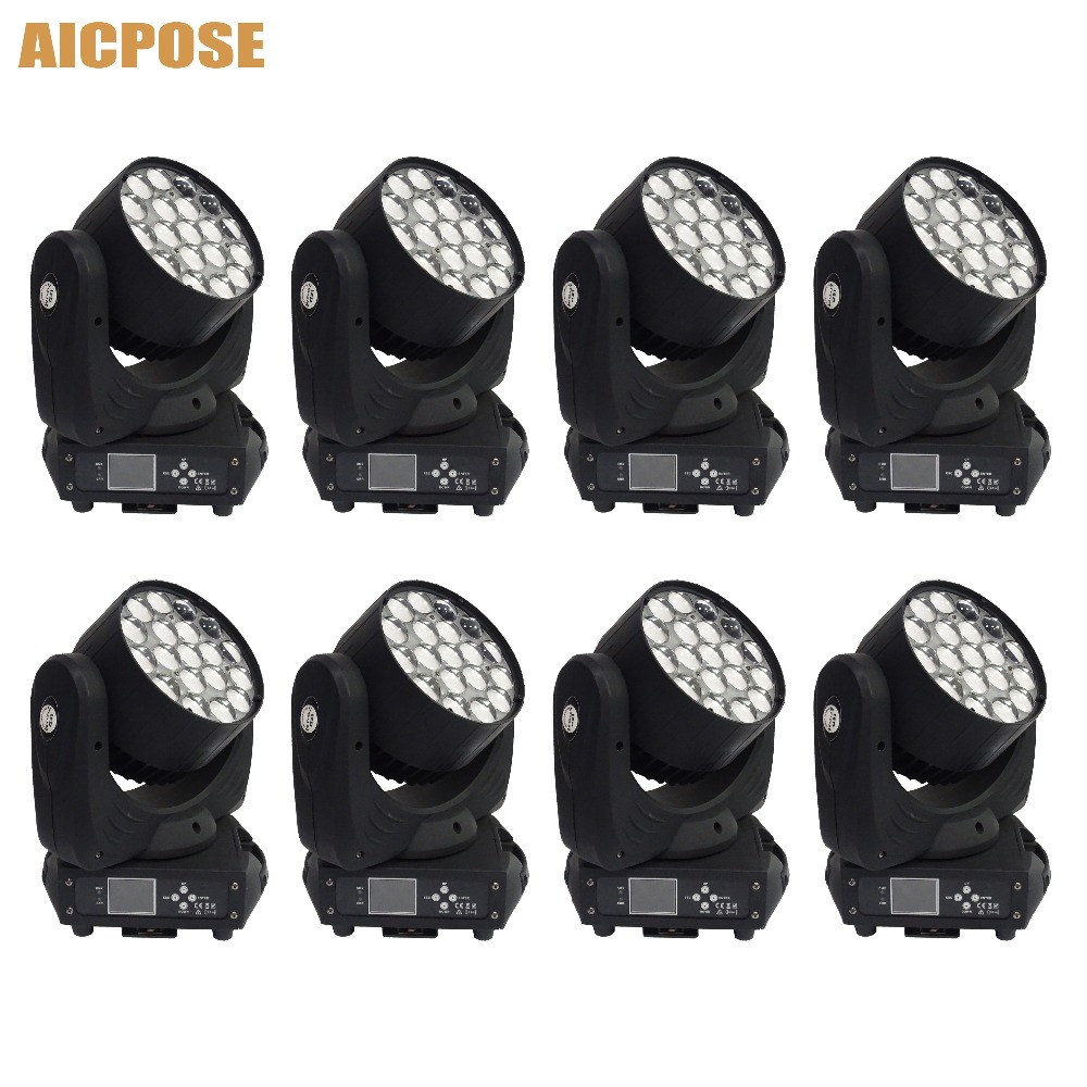 8pcs/lots 19x15w Led RGBW 4in1 Zoom Light Moving Head Light  With Circle Control Function Party Wedding Show Stage Light8pcs/lots 19x15w Led RGBW 4in1 Zoom Light Moving Head Light  With Circle Control Function Party Wedding Show Stage Light