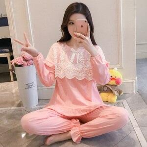 Image 2 - Pijama, primavera feminina, outono, princess breeze, versão coreana, mangas compridas dos alunos frescos, renda de algodão puro, dois conjuntos de wi