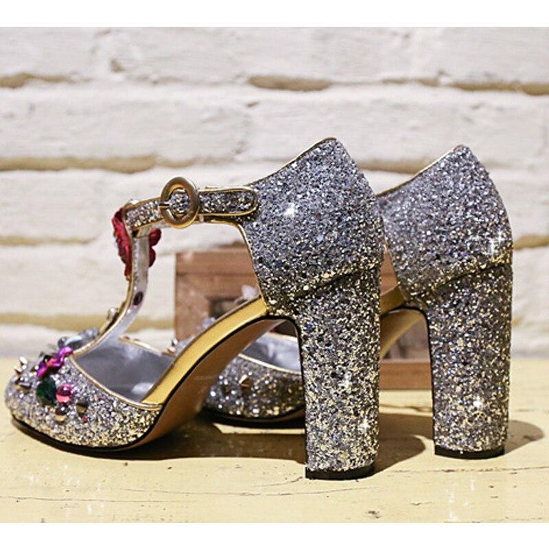 Luxe 2018 Partie Silver Strap Main Femmes Talon À Carollabelly Fleur La Cristal Bling De Fait Pompes T Des black Chaussures Mariage Haut 8TAqd