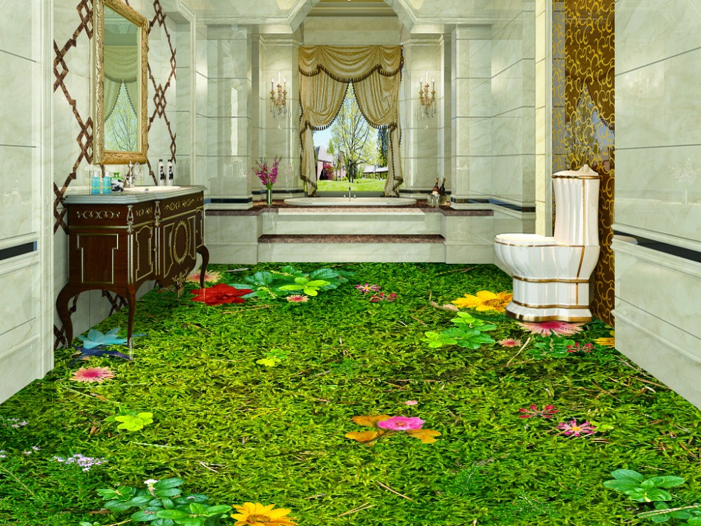 Waterproof wall murals flowers and grass lawn 3d floor pvc for Decoration cost per m2